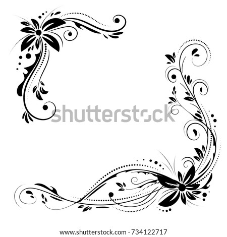 floral corner design ornament black flowers stock
