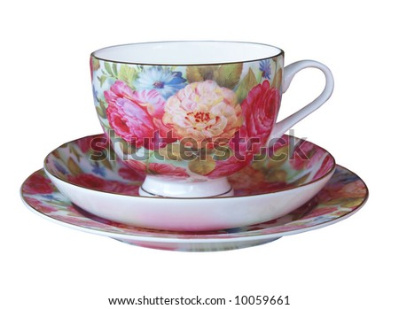 Floral Cup, Saucer and Plate isolated with clipping path - stock photo