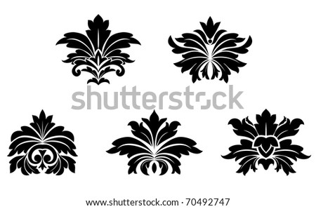 Floral damask patterns isolated on white for design. Vector version also available in gallery - stock photo