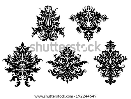 Floral damask patterns set isolated on white background for retro design. Vector version also available in gallery - stock photo