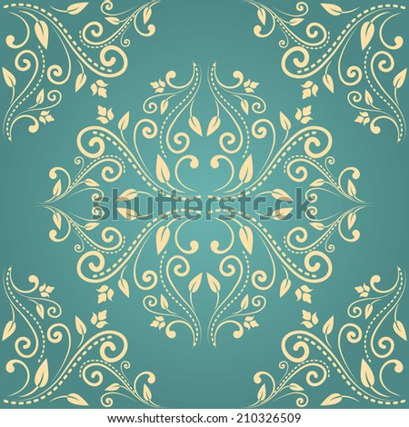 Floral damask seamless pattern background in beige and blue colors. Raster copy..  - stock photo