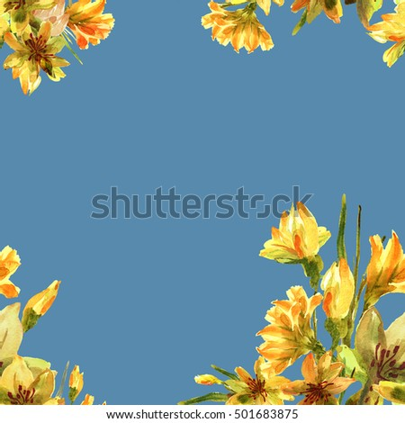 Floral decoration. Birthday card. Bouquet of daffodils field on a blue  background - S