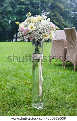 Floral decoration with carnation and eustoma flowers