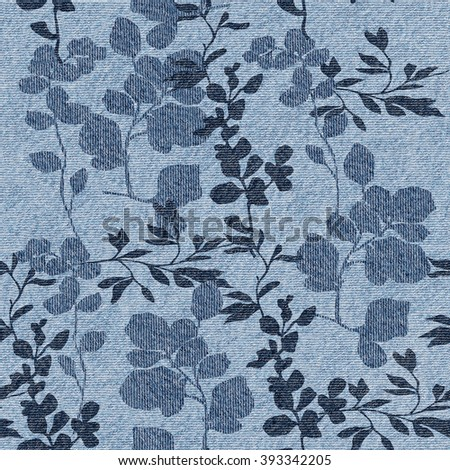 Floral decorative pattern - Interior wall decoration - Blue jeans texture - Interior Design wallpaper - Fine natural structure - Continuous replication - Decorative wrapping paper - stock photo