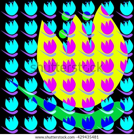 Floral decorative pattern on squared tile - psychedelic blue tulips blending with yellow flower on black background - in retro style of old computer games - stock photo