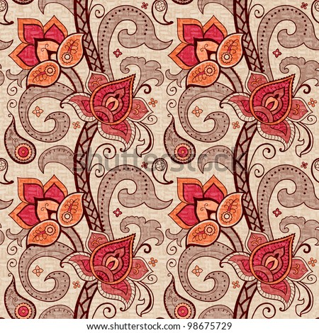Floral decorative seamless pattern red flowers and paisley - stock photo