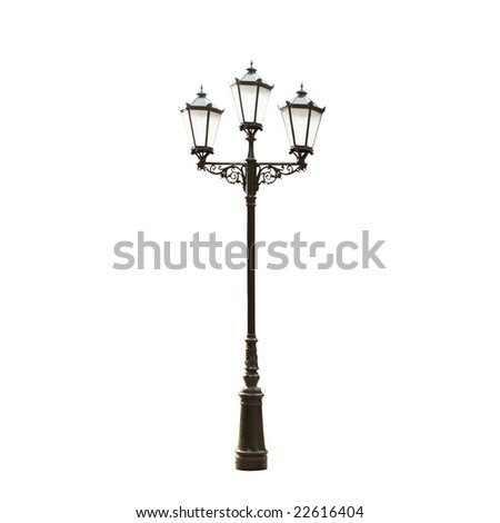 Floral decorative street lamp, clipping path