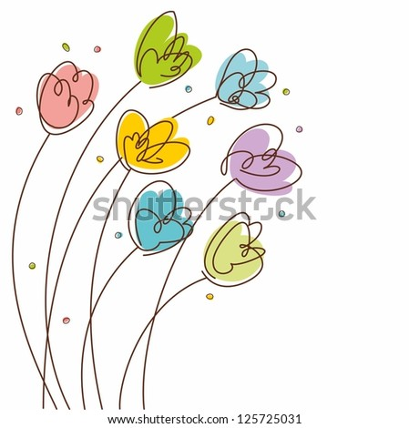 Floral Design background. Spring tulips. Illustration with hand-drawn flowers.