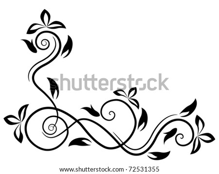 Floral design element. Raster version. Vector version is in my gallery. - stock photo