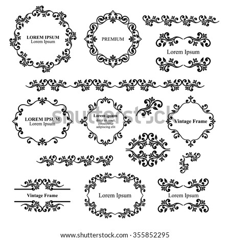 Floral design elements set, ornamental vintage frames, borders in black color. Page decoration. Raster version. Isolated on white background. Can use for birthday card, wedding invitations. - stock photo