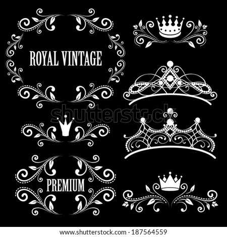 Floral design elements, vintage royalty frames with crowns, ornamental style diadems in white color.  Isolated on black background. Raster copy.