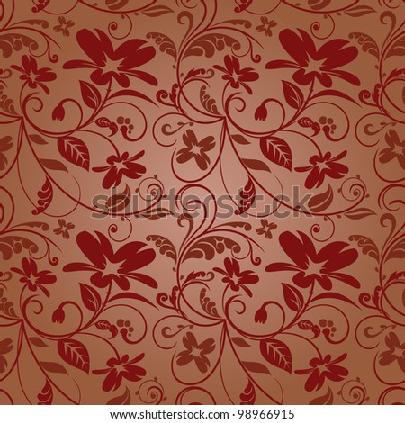 floral design in ocher-maroon-pink coloring with a gradient. raster - stock photo