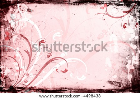 Floral design on grunge background