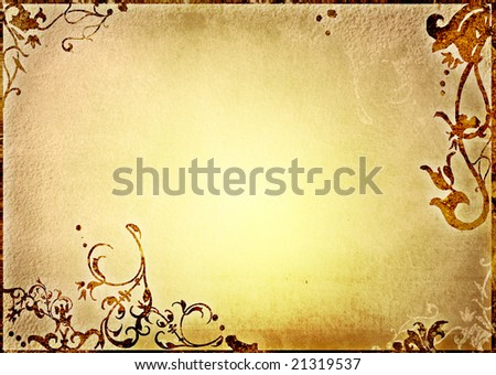 floral design on old parchment background