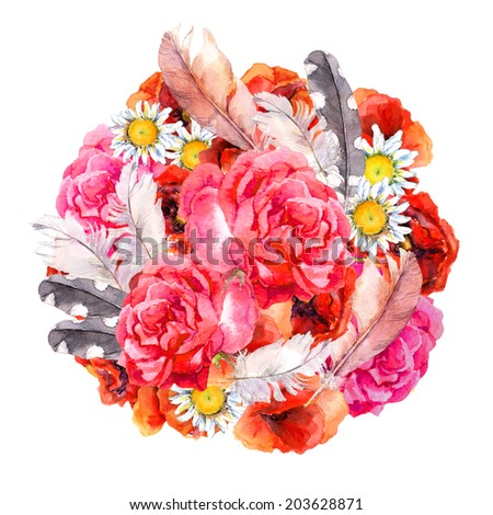 Floral design with watercolor flowers (poppies, rose, camomile) and feathers. Aquarel  - stock photo