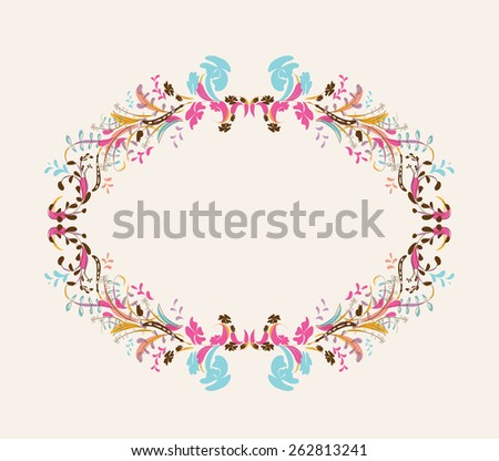 Floral doodle frame with space - stock photo