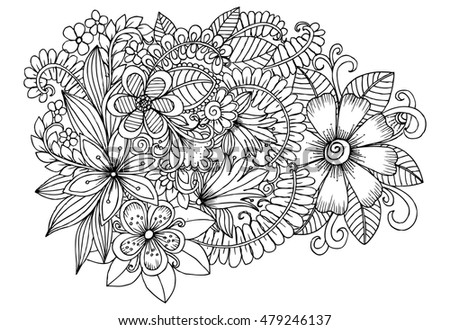 Floral Doodle Pattern Black White Coloring Stock
