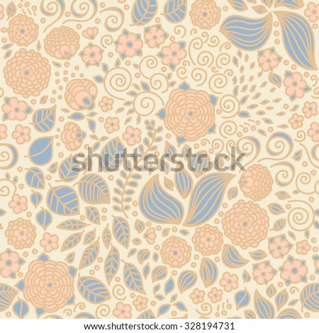 Floral doodle wallpaper seamless pattern.