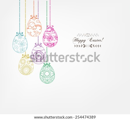 floral easter eggs - stock photo
