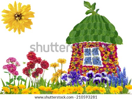 Floral eco house concept collage made from summer flowers and leaves. Isolated - stock photo