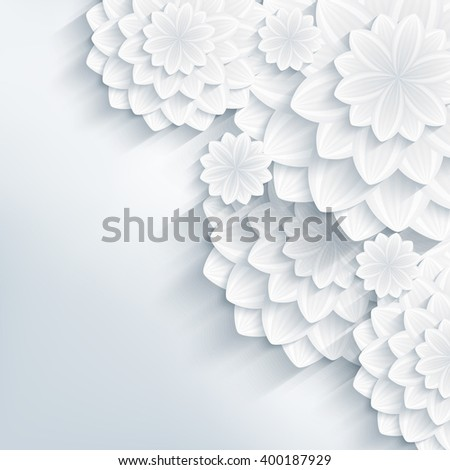 Floral elegant background with grey 3d flowers dahlia cutting paper. Beautiful stylish modern wallpaper. Trendy greeting or invitation card for wedding, birthday. Raster illustration