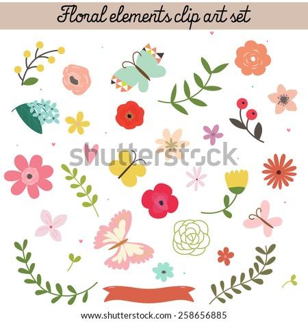 Floral elements clip art set. Raster. - stock photo
