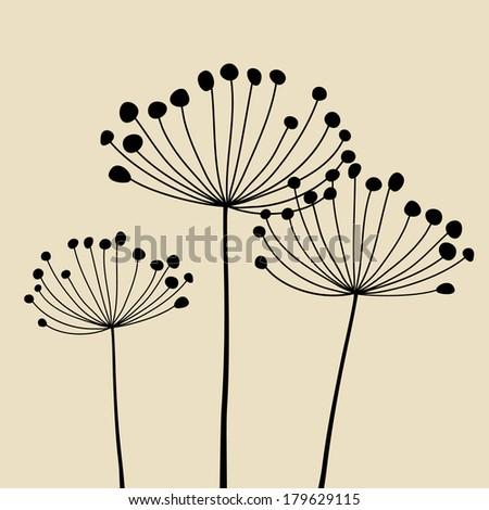 Floral Elements for design, dandelions - stock photo