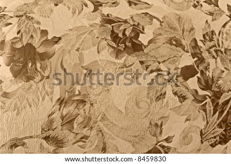 floral fabric in sepia - stock photo