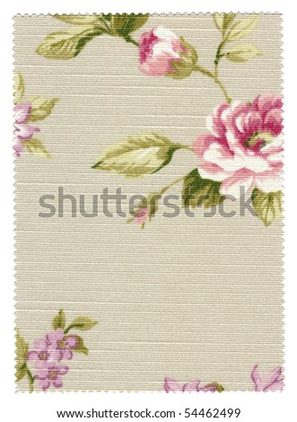 Floral Fabric Swatch with trimmed zigzag edges - stock photo