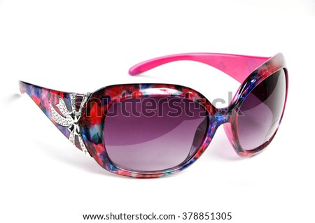 Floral female Sunglasses Isolated on White