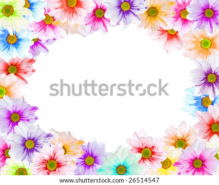 Floral frame made of colorful daisies on white - stock photo
