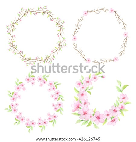 Floral frame with hand painted watercolor cherry flowers and branches. Spring cherry blossoms wreath in delicate pink and green colors. Blank template perfect for wedding invitations and card making - stock photo