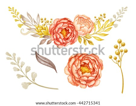 floral garland, design elements, coral and peach peony flowers and gold leaves, watercolor illustration, isolated on white background