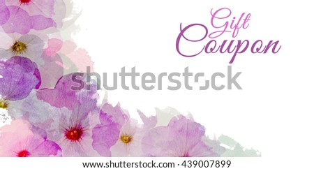 Floral Gift Coupon. Bright Voucher with Flowers. Summer Sale Concept. Invitation Card.