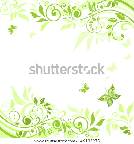 Floral green border. Raster copy of vector image - stock photo