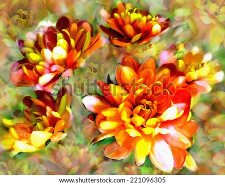 Floral greeting card with stylized golden chrysanthemums on  grunge stained colorful  hazy background - stock photo