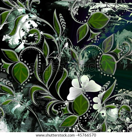 floral grounge leaf scroll design with flying butterflies and distressed background - stock photo