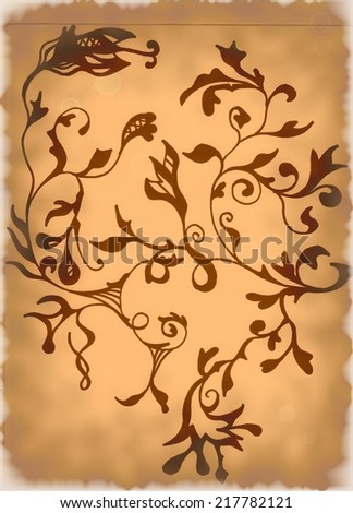 Floral grunge background with damaged edges. - stock photo