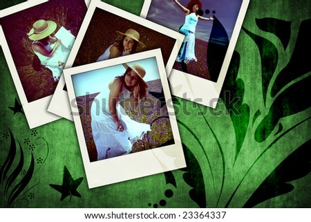 floral grunge background with old instant photos - landscape orientation - stock photo