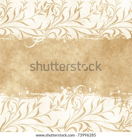 floral grunge frame on old parchment .old paper with floral pattern