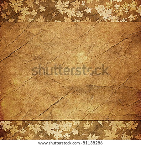 floral grunge frame with autumn foliage on old parchment .old paper with floral pattern - stock photo