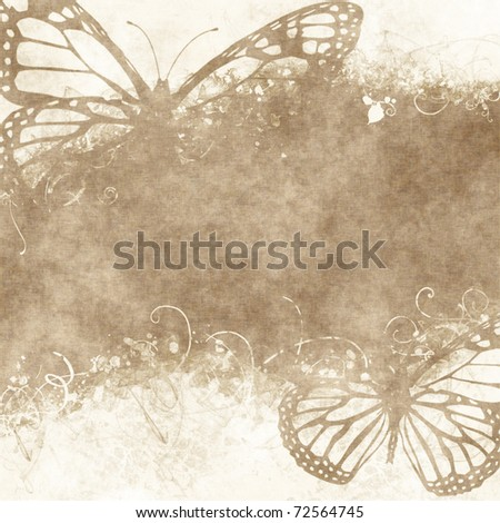 floral grunge illustration with butterflies on old parchment .old paper with floral pattern - stock photo