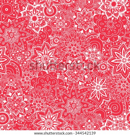 Floral hand drawn seamless pattern. Doodle vector background. Indian ornament, henna pattern in indian style.
