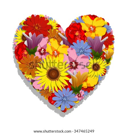 Floral heart - stock photo
