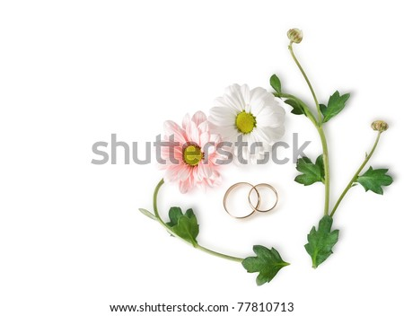 floral heart and wedding ring - stock photo
