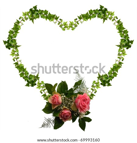 floral heart isolated on the white background, frame for your text - stock photo
