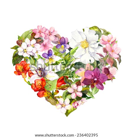 Floral heart with flowers, herbs and leaves. Watercolor  - stock photo