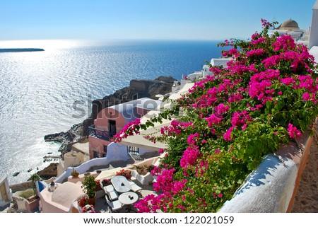 Floral hill in Oia, Santorini - stock photo