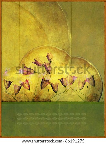floral illustration with earthy texture - stock photo