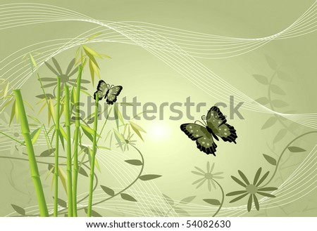 Floral image of bamboo, flowers, butterflies and leaves. - stock photo